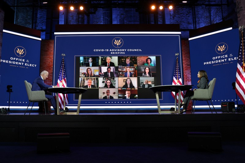 U.S. President-elect Joe Biden and Vice President-elect Kamala Harris hold a virtual meeting with members of the incoming administration's COVID-19 Advisory Council in Wilmington, Delaware, on Nov. 9.