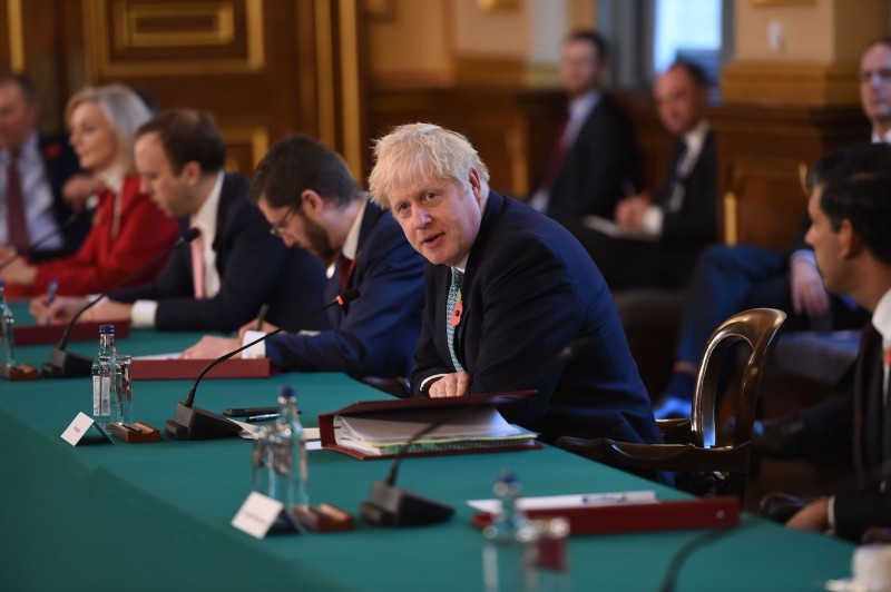 British Prime Minister Boris Johnson chairs the weekly cabinet meeting at the Foreign, Commonwealth, and Development Office in London on Nov. 3.