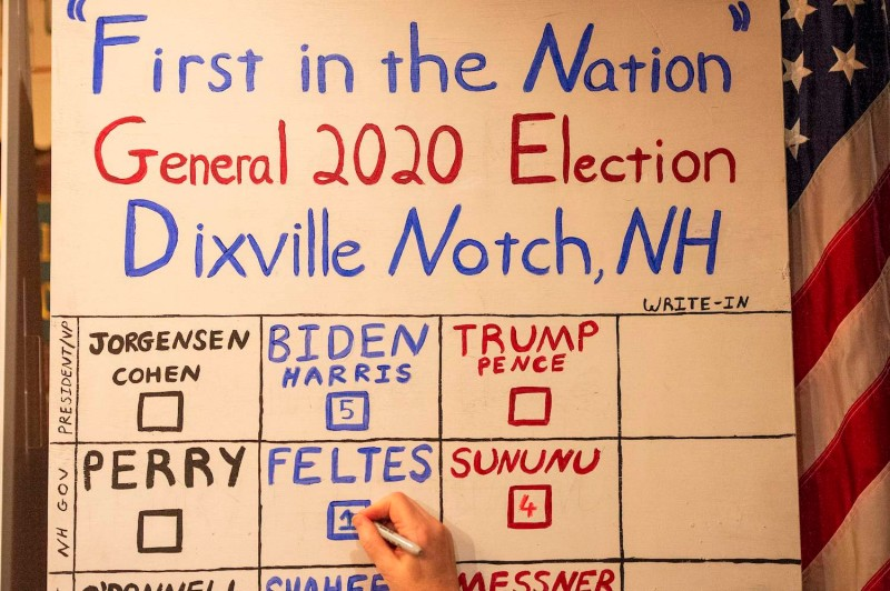 Voters in Dixville Notch, a village of 12 residents in the US state of New Hampshire, kicked off Election Day at the stroke of midnight on Tuesday by voting unanimously for Democratic nominee Joe Biden.
