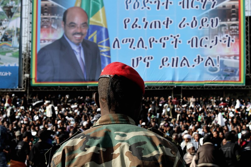 Ethiopian soldiers and thousands of mourners attend the official state funeral of Ethiopia's late prime minister, Meles Zenawi