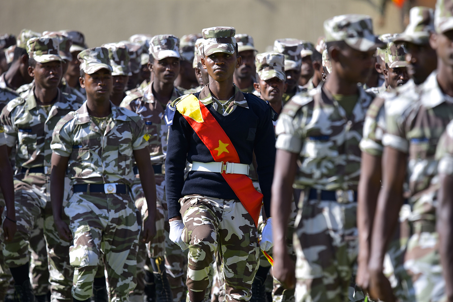 Members of the Tigray region special police force parade during celebrations marking the 45th anniversary of the launching of the Armed Struggle of the Peoples of Tigray in Mekele, Ethiopia, on Feb. 19.