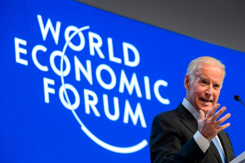 Then-U.S. Vice President Joe Biden delivers a speech during the World Economic Forum annual meeting in Davos, Switzerland, on Jan. 20, 2016.