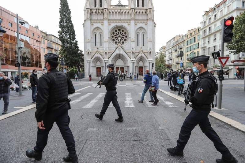 French gendarmes secure the area around the Notre-Dame de l'Assomption Basilica in Nice on Oct. 31, two days after a knife attacker killed three people.