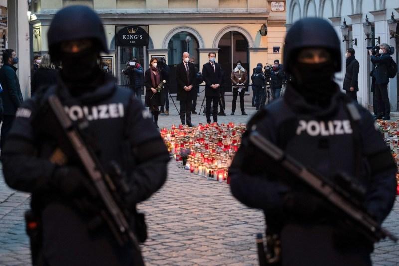 Austrian Chancellor Sebastian Kurz (R), President of the European Council Charles Michel (C) and Austria's Europa minister Karoline Edtstadler (L) pay respects to the victims of a terrorist attack in Vienna, Austria on Nov. 9.