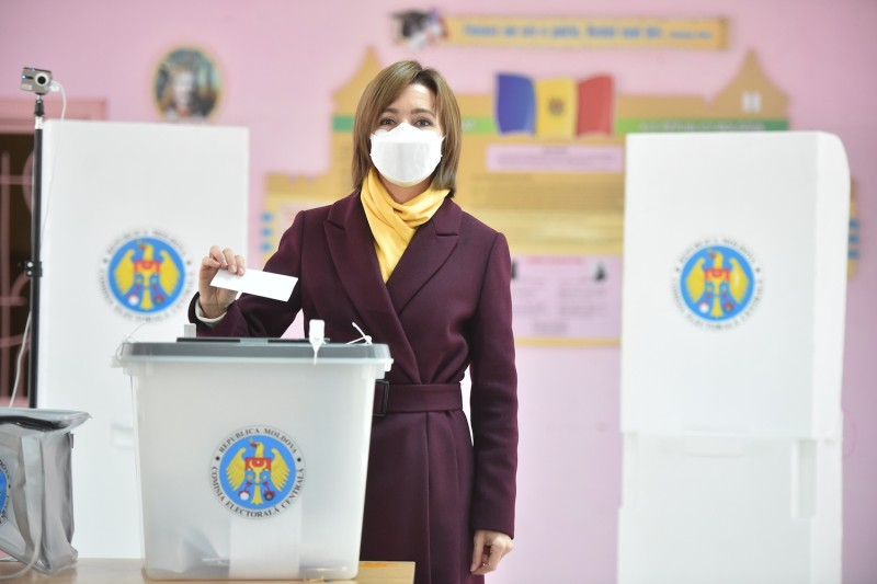 Maia Sandu, the winner of the recent election, wearing a face mask as she casts her ballot at a polling station during the second round of Moldova's presidential election in Chisinau, Moldova on Nov. 15, amid the ongoing coronavirus pandemic.