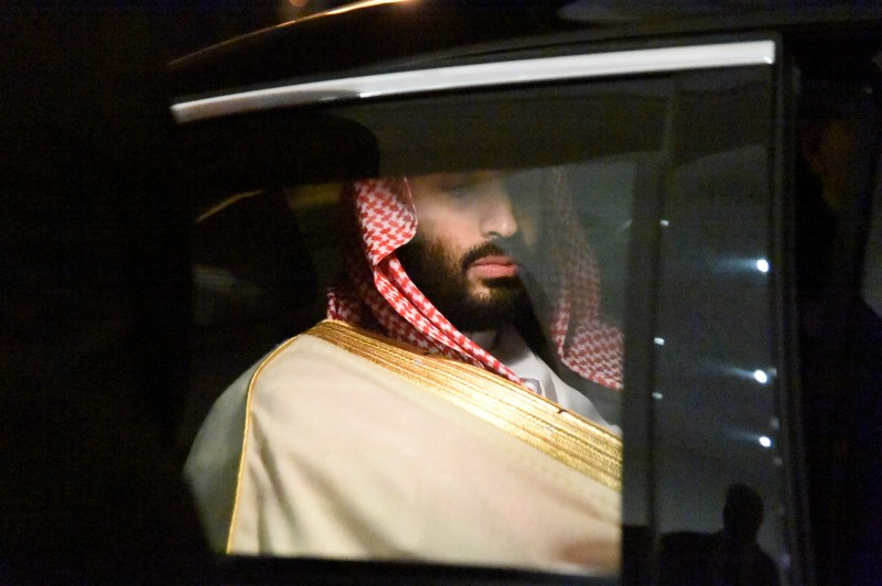 Saudi Crown Prince Mohammed bin Salman on his way to a meeting with Algerian Prime Minister Ahmed Ouyahia in Algiers on Dec. 2, 2018.