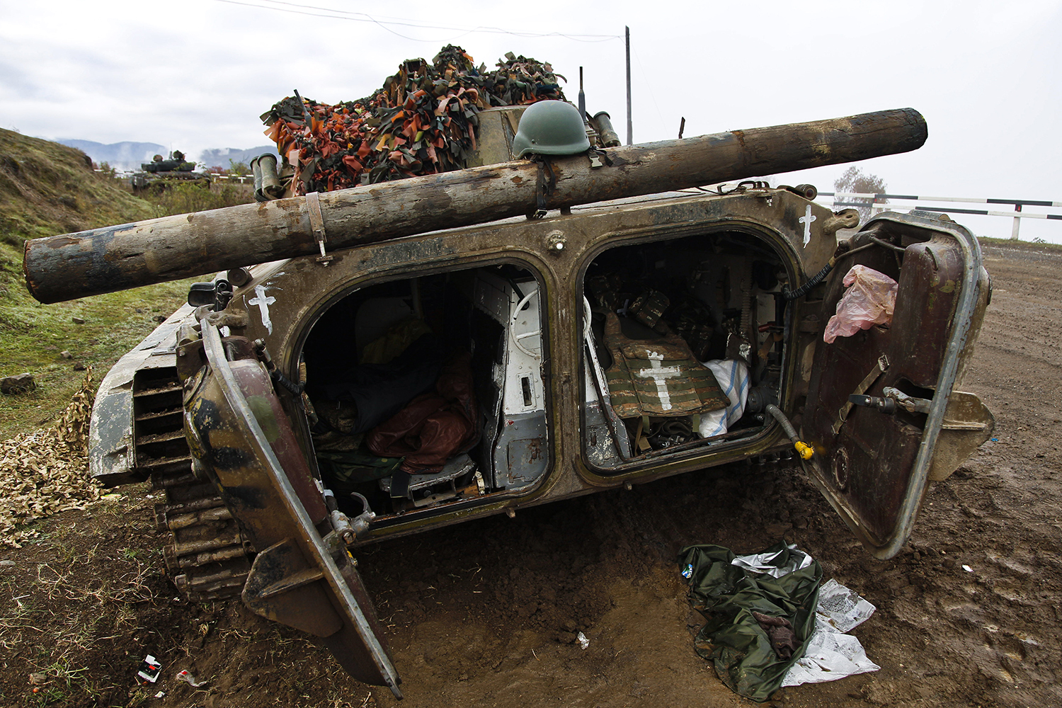 An armored vehicle on the highway connecting Stepanakert and Shushi on Nov. 13.