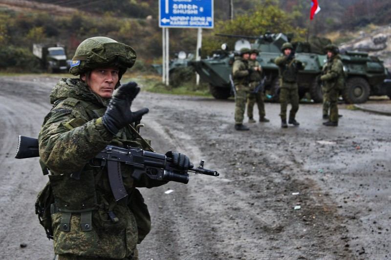 A Russian peacekeeper in Nagorno-Karabakh