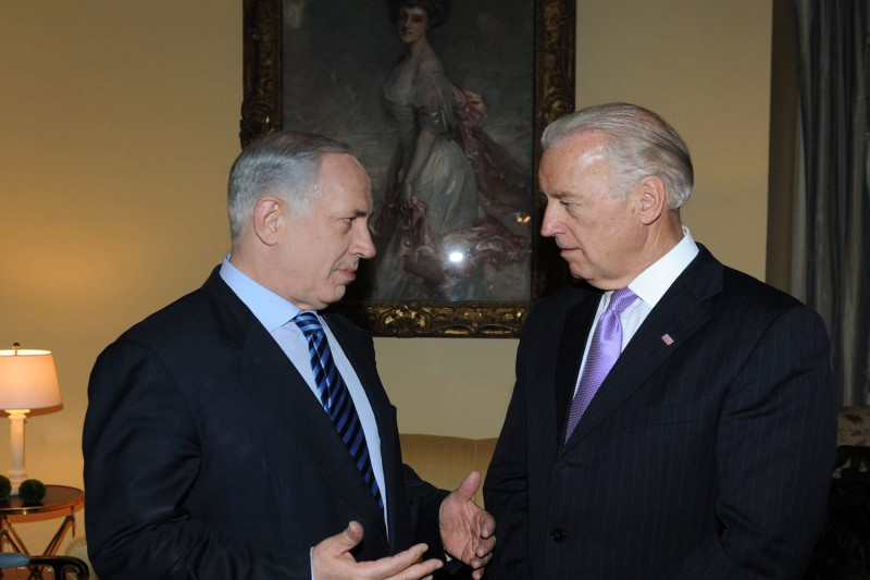 Israeli Prime Minister Benjamin Netanyahu (L) speaks with then-U.S. Vice President Joe Biden March 23, 2010 in Washington.