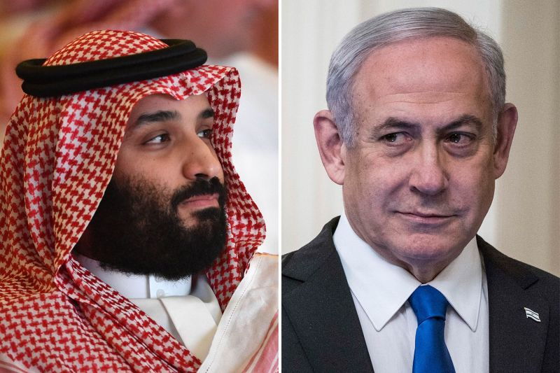 Saudi Crown Prince Mohammed bin Salman and Israeli Prime Minister Benjamin Netanyahu.