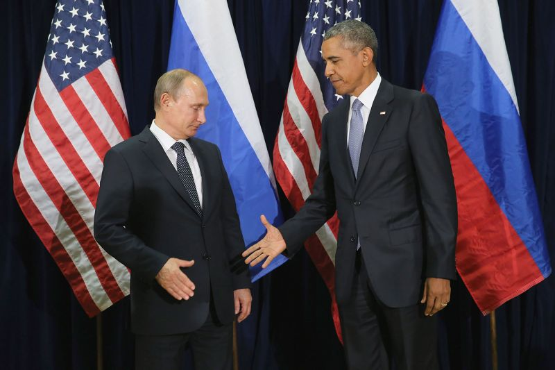 Russian President Vladimir Putin and then-U.S. President Barack Obama