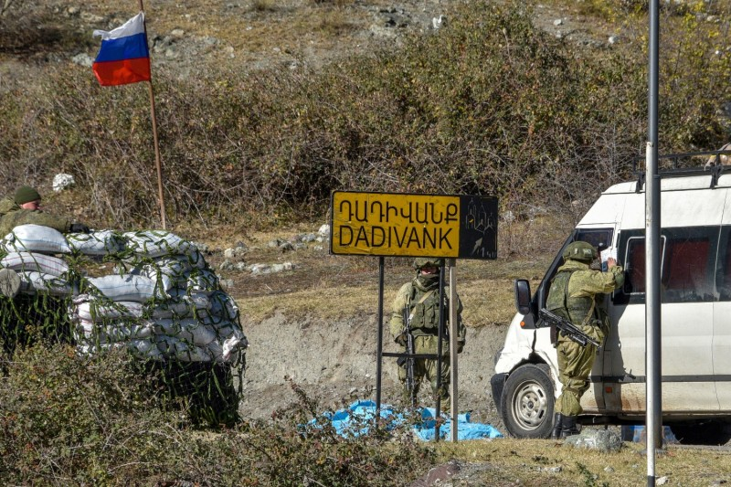 Russian peacekeepers patrol the village of Dadivank in Nagorno-Karabakh on Nov. 20.