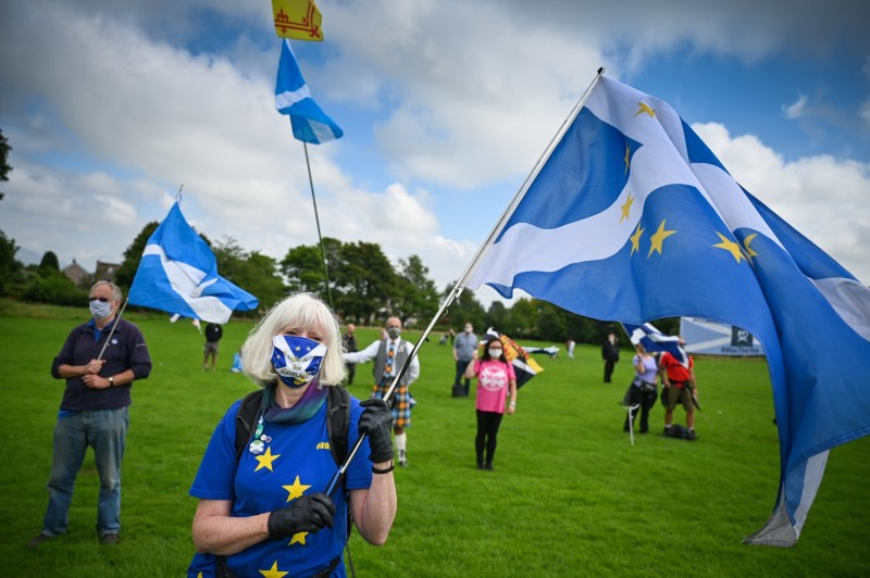 "Supporters of Scottish independence gather at the site of the Battle of Bannockburn for an ""All Under One Banner"" event in Bannockburn, Scotland, on Aug. 19."