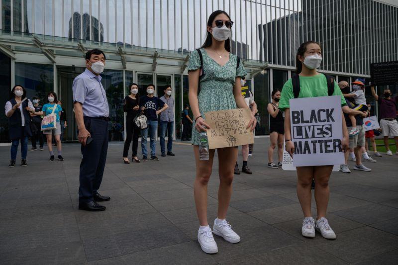 A Black Lives Matter protest in Seoul