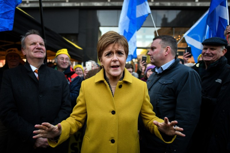 Scottish National Party leader Nicola Sturgeon campaigns ahead of the  2019 British general election in Perth, Scotland, on Dec. 3, 2019.