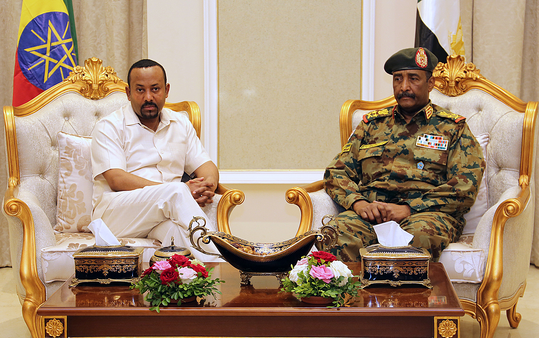 Ethiopia's Prime Minister Abiy Ahmed meets with Lt. Gen. Abdel Fattah al-Burhan of Sudan in Khartoum, Sudan, on June 7, 2019.