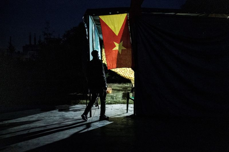 A man enters a polling station on the day of Tigray's regional elections, on Sept. 9, 2020 in Mekelle.