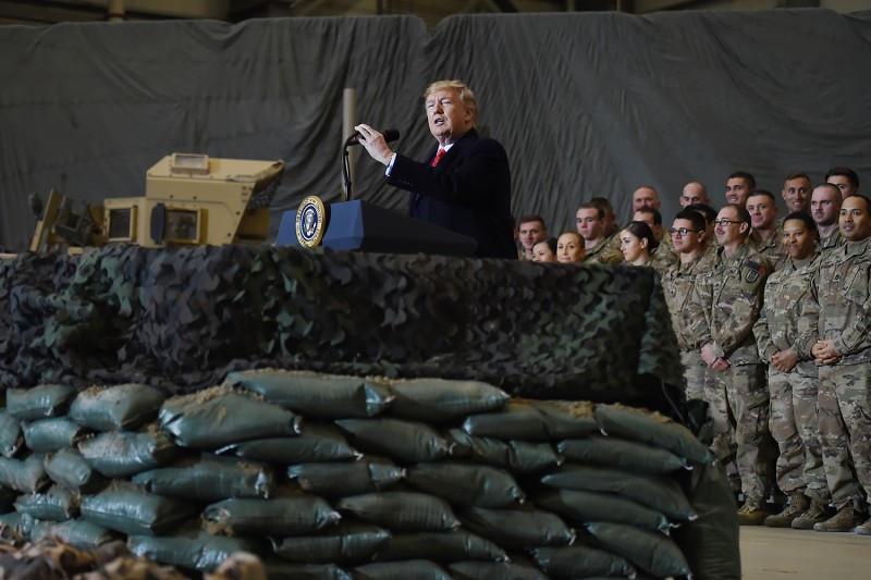 U.S. President Donald Trump speaks to troops during a surprise Thanksgiving day visit at Bagram Air Field in Afghanistan on Nov. 28, 2019.