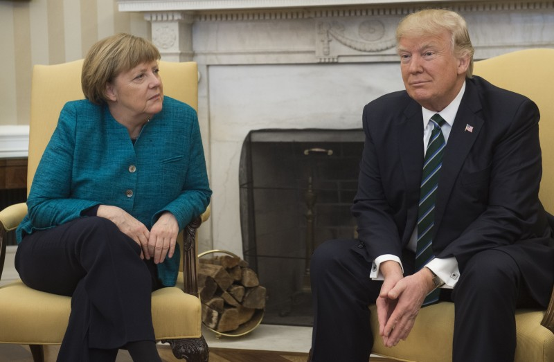 U.S. President Donald Trump and German Chancellor Angela Merkel in the Oval Office of the White House in Washington, DC, on March 17, 2017.
