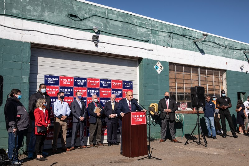 Rudy Giuliani, the attorney for the U.S. president, holds a press conference in the back parking lot of the Four Seasons Total Landscaping company in Philadelphia on Nov. 7.