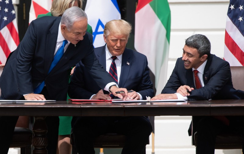 Israeli Prime Minister Benjamin Netanyahu, U.S. President Donald Trump, and UAE Foreign Minister Abdullah bin Zayed Al-Nahyan at the signing of the Abraham Accords at the White House in Washington, DC, on Sept. 15.