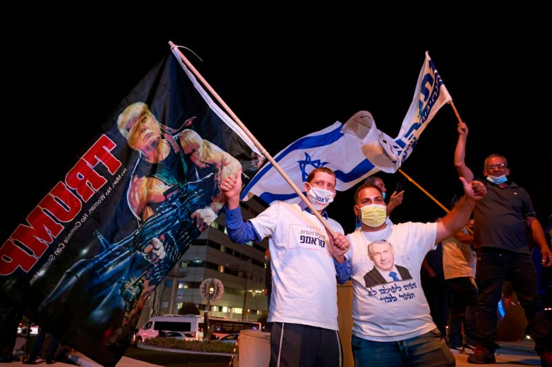Israeli Likud party affiliates and supporters of U.S. President Donald Trump attend a pre-election rally in the Israeli city of Beit Shemesh on Nov. 2, ahead of the U.S. presidential election.