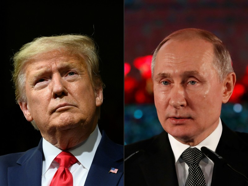 U.S. President Donald Trump at a campaign rally in Phoenix, Arizona, on Feb. 19 and Russian President Vladimir Putin during a ceremony in Jerusalem on Jan. 23.