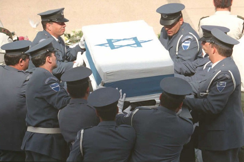 Israeli Knesset honor guards carry the coffin of assassinated Israeli Prime Minister Yitzhak Rabin before the funeral in Jerusalem on Nov. 6, 1995.