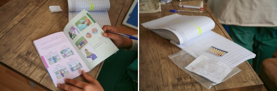 """Left: The nurses and doctors at the Kahdistan clinic try to tackle issues of reproductive health and family planning methods using picture books. Each patient receives a book marked with their contraception instructions. Right: Despite cultural sensitivities, all forms of family planning are available in the clinic. """"Most women come with their husbands to the clinic, but some take the pill secretly because they know they cannot face the difficulties of feeding another child when they can hardly cater for those they have,"""" Mohammadi said."""
