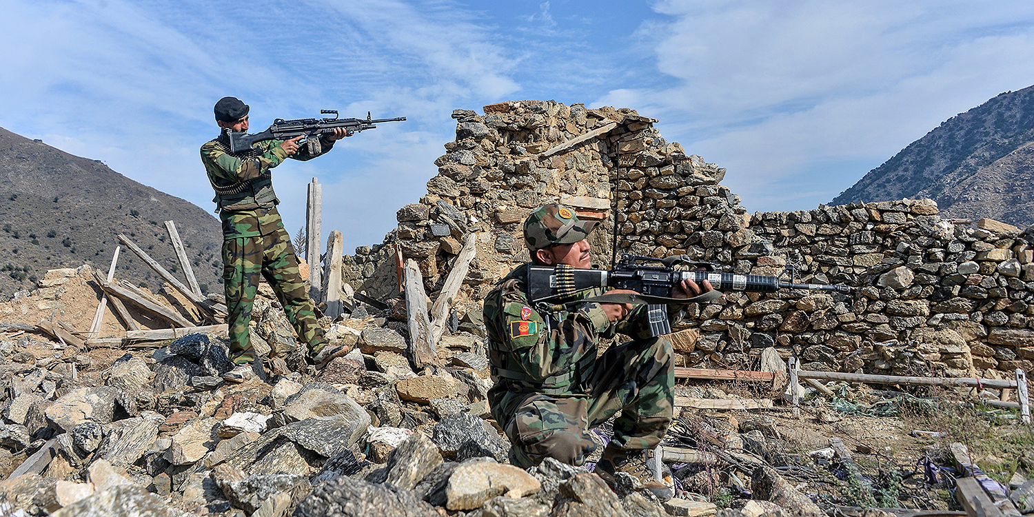 Afghan security forces take part in an ongoing operation against Islamic State militants in the Achin district of Nangarhar province on Nov. 25, 2019.