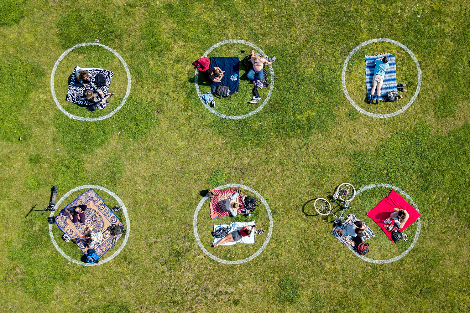 People gather inside painted circles on the grass, which encourage social distancing, at Dolores Park in San Francisco, California, on May 22. JOSH EDELSON/AFP via Getty Images