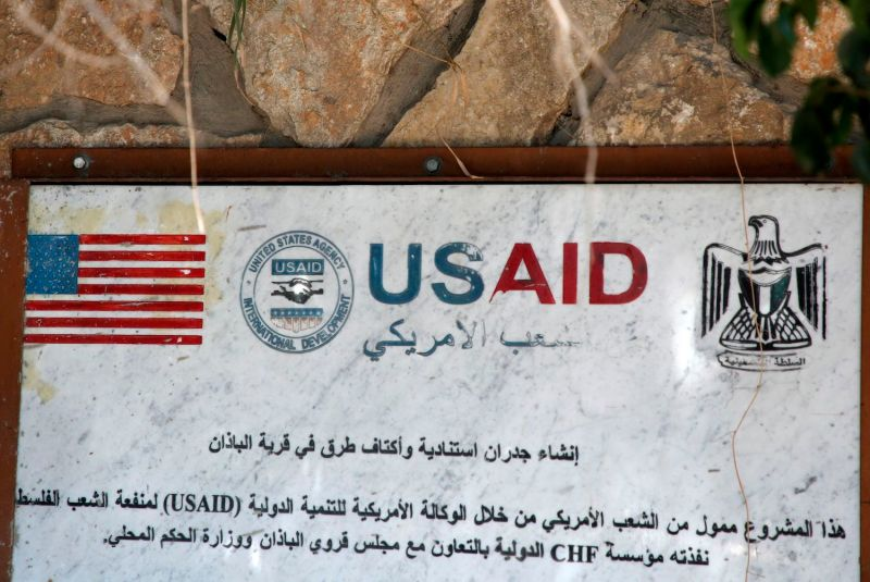A USAID mural, to commemorate the building of supportive walls and road shoulders, is pictured in the village of al-Badhan, north of Nablus in the occupied West Bank on August 25, 2018.