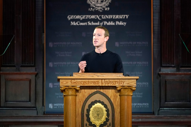 Facebook CEO Mark Zuckerberg leads a conversation on free expression at Georgetown University on Oct. 17, 2019 in Washington.