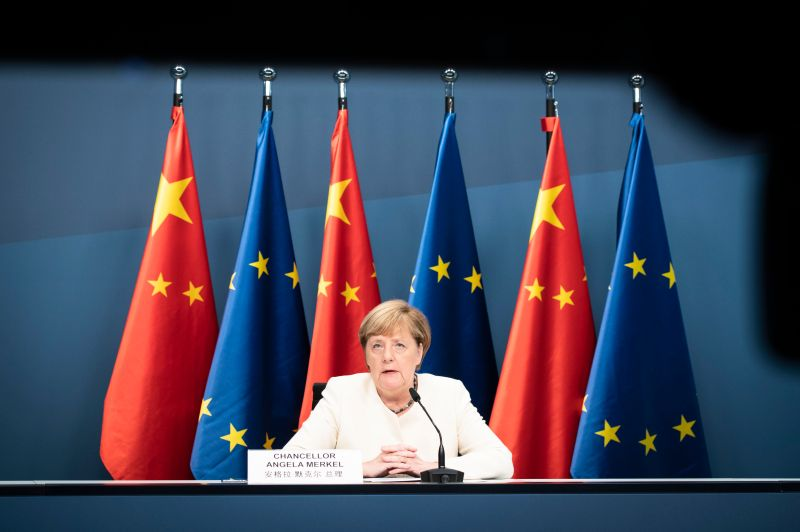 German Chancellor Angela Merkel, along with European Commission President Ursula von der Leyen and President of the European Council Charles Michel, who were both tuning in via video link from Brussels, during a video linked meeting with Chinese President Xi Jinping during the coronavirus pandemic on September 14, 2020 in Berlin, Germany.