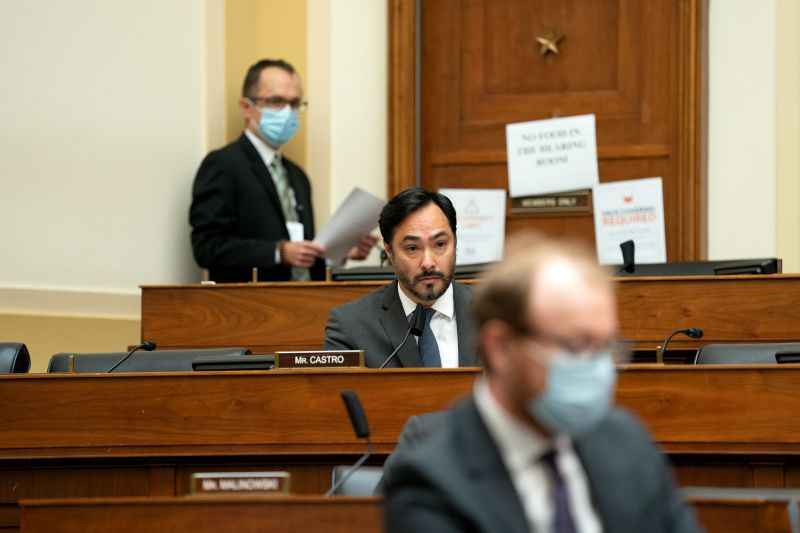 House Foreign Affairs Committee member Joaquin Castro speaks at a hearing.