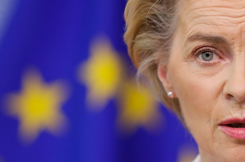 European Commission President Ursula Von Der Leyen gives a statement on the New Pact for Migration and Asylum at the European Commission in Brussels, on September 23, 2020.