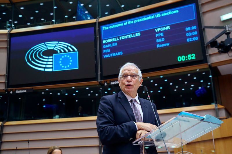High Representative of the Union for Foreign Affairs and Security Policy Josep Borrell speaks on relations with the United States during a plenary session of the European Parliament in Brussels on Nov. 11, 2020.