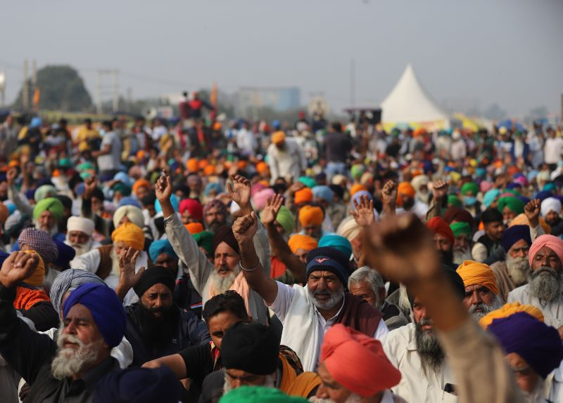 Farmers chant slogans during a demonstration in New Delhi on Dec. 5.