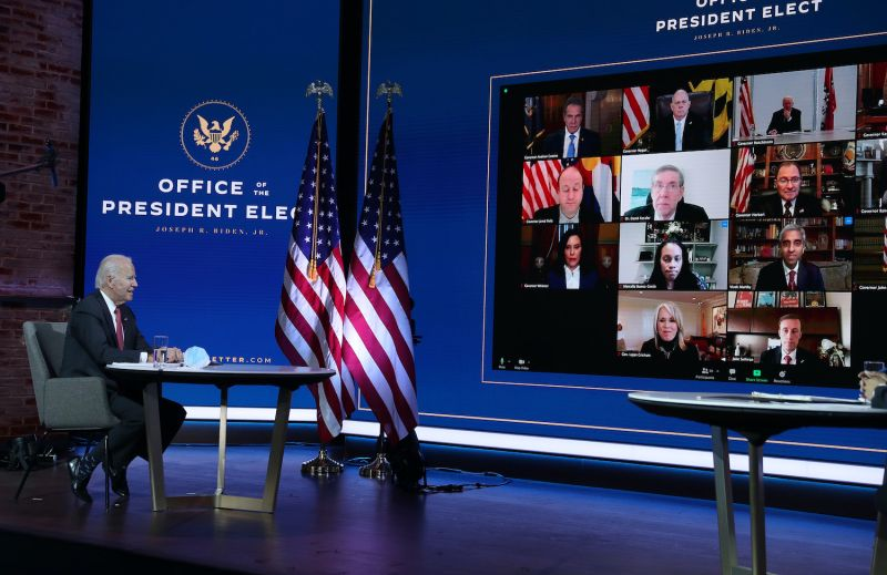 U.S. President-elect Joe Biden holds a virtual meeting