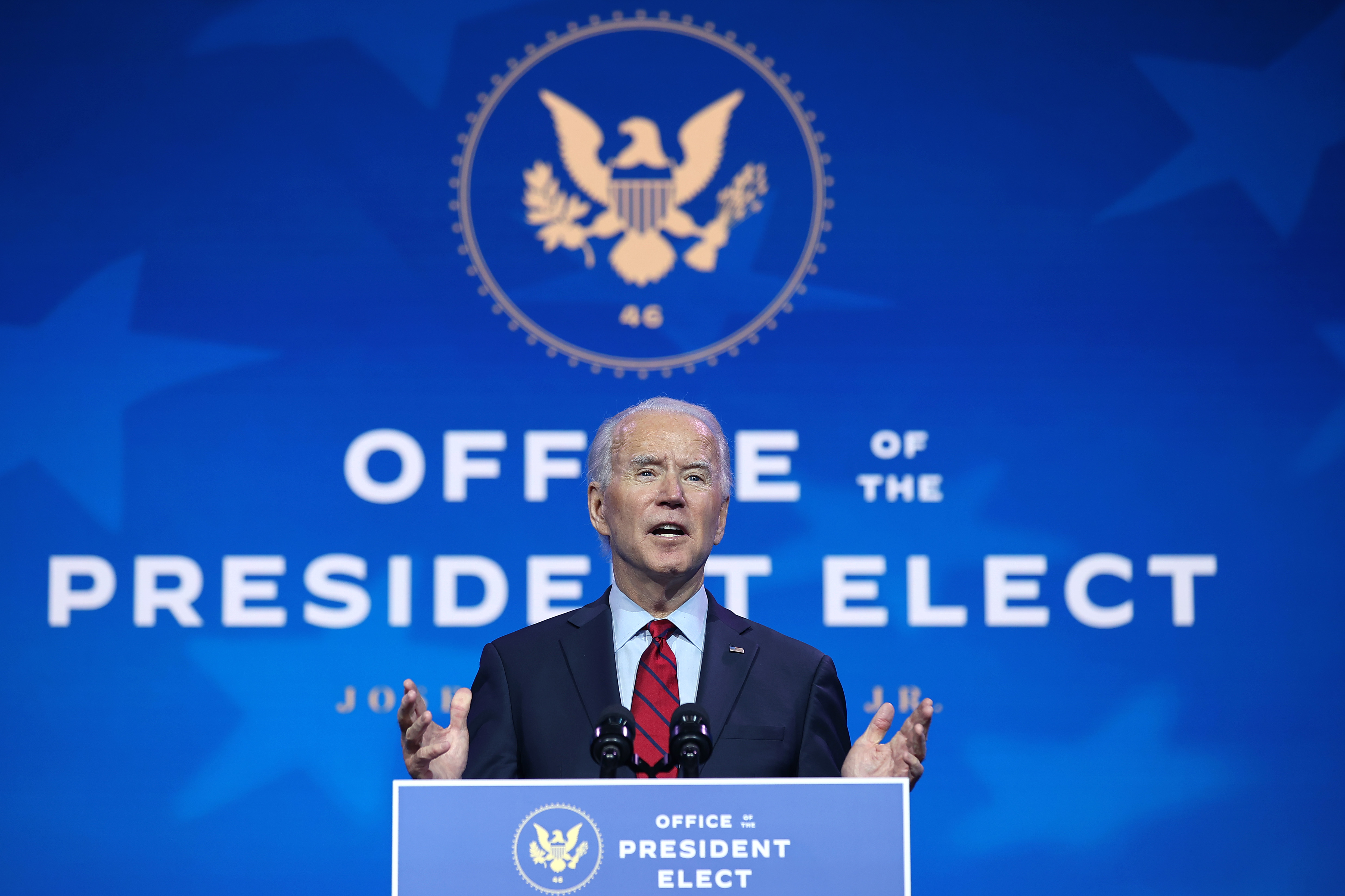 Joe Biden announces the members of his health team, including his pick for secretary of Health and Human Services Xavier Becerra, at the Queen Theater December 08, 2020 in Wilmington, Delaware.