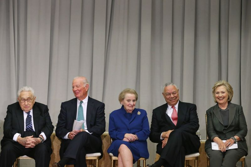 Former Secretaries of State Henry Kissinger, James Baker, Madeleine Albright, Colin Powell and Hillary Clinton participate in the ceremonial groundbreaking of the future U.S. Diplomacy Center at the State Department's Harry S. Truman Building Sept. 3, 2014 in Washington.