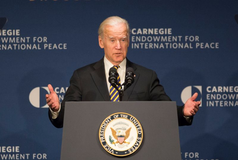 U.S. President-elect Joe Biden, then the outgoing vice president, outlines nuclear issues in Washington, DC on Jan. 11, 2017.