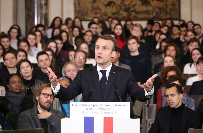 France's President Emmanuel Macron gives a speech to unveil his strategy to promote French as part of the International Francophonie Day before members of the French Academy (Academie Francaise) and other guests at the French Institute on March 20, 2018 in Paris.