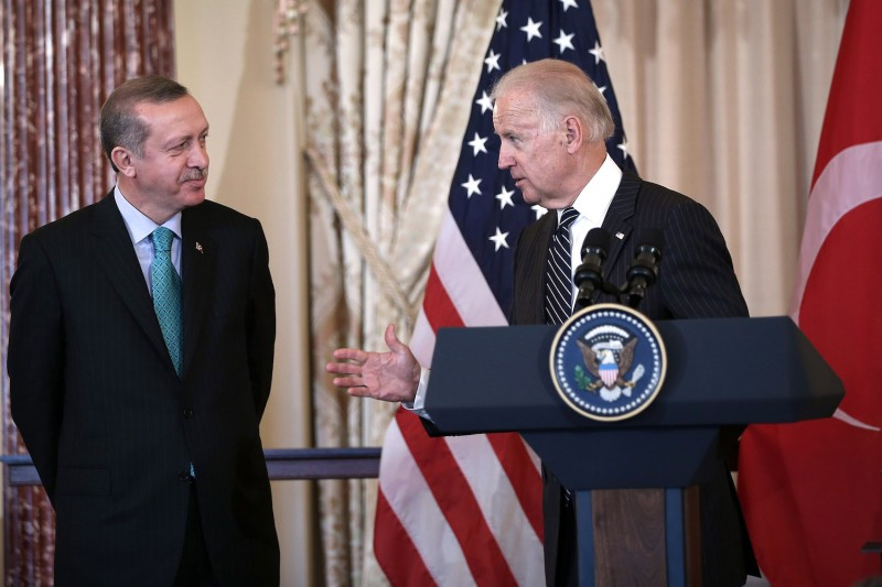 U.S. Vice President Joe Biden speaks as prime minister of Turkey Recep Tayyip Erdogan looks on during a luncheon at the State Department in Washington, DC on May 16, 2013