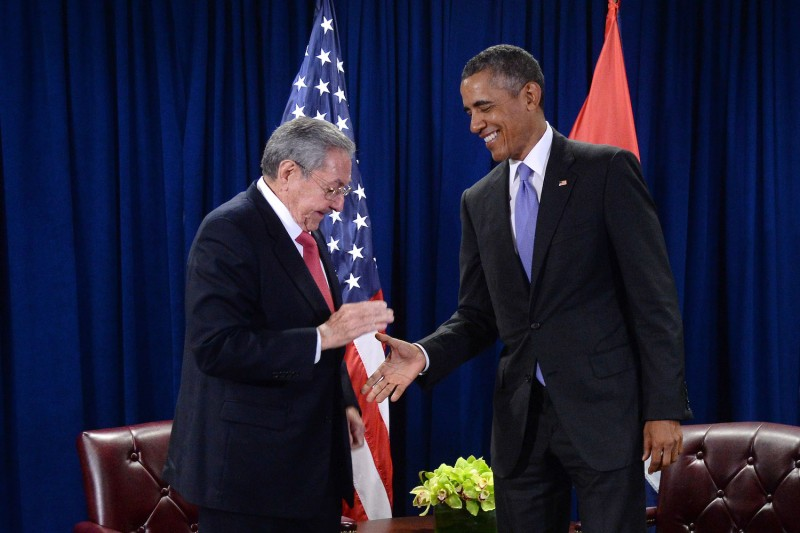 U.S. President Barack Obama and President Raúl Castro of Cuba shake hands during a bilateral meeting at the United Nations Headquarters in New York on Sept. 29, 2015.