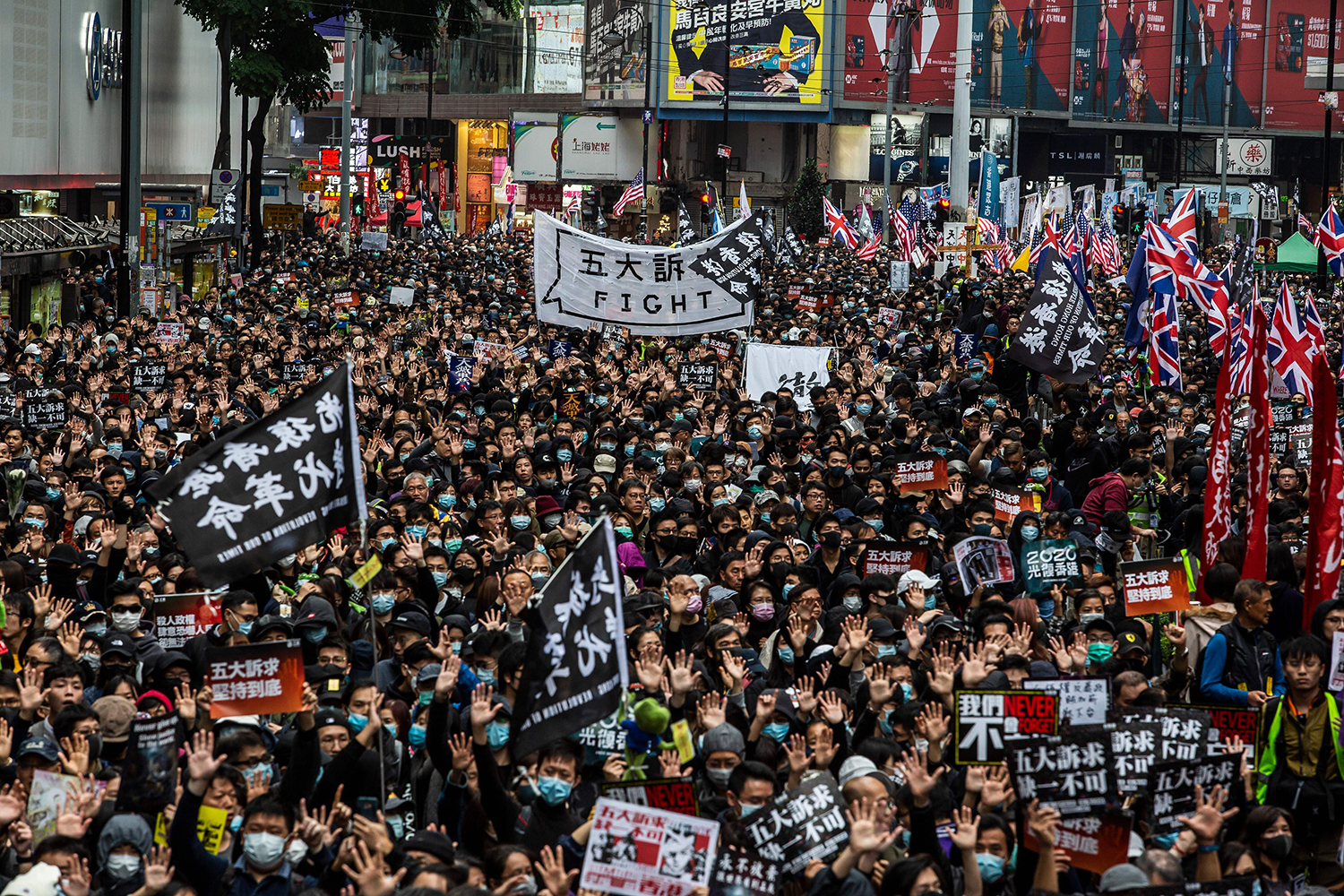 Tens of thousands of protesters take part in a pro-democracy march in Hong Kong on Jan. 1. ISAAC LAWRENCE/AFP via Getty Images