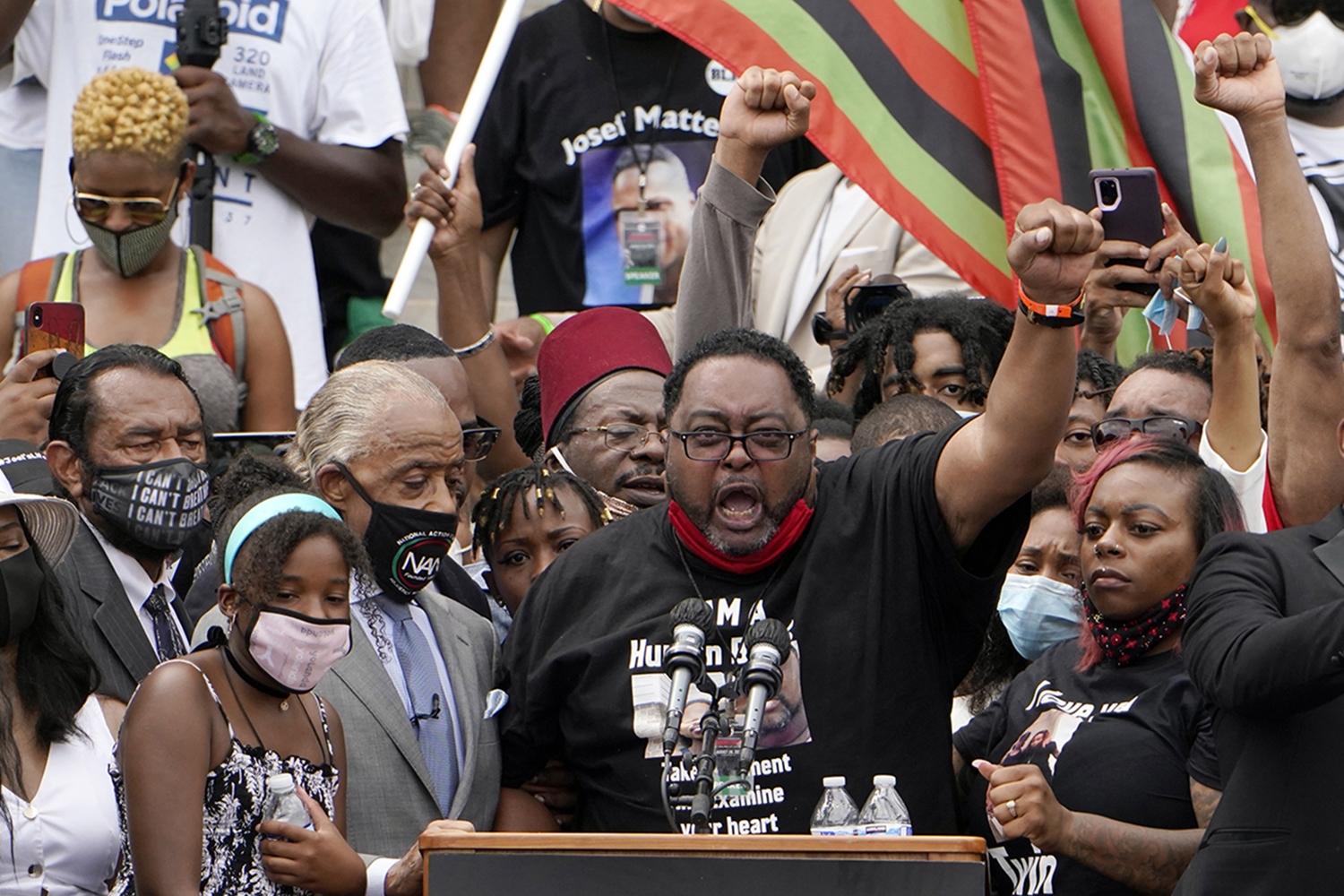 Jacob Blake Sr., whose son was shot by police in Kenosha, Wisconsin, earlier in the week, speaks at the March on Washington at the Lincoln Memorial on Aug. 28. Jacquelyn Martin-Pool/Getty Images