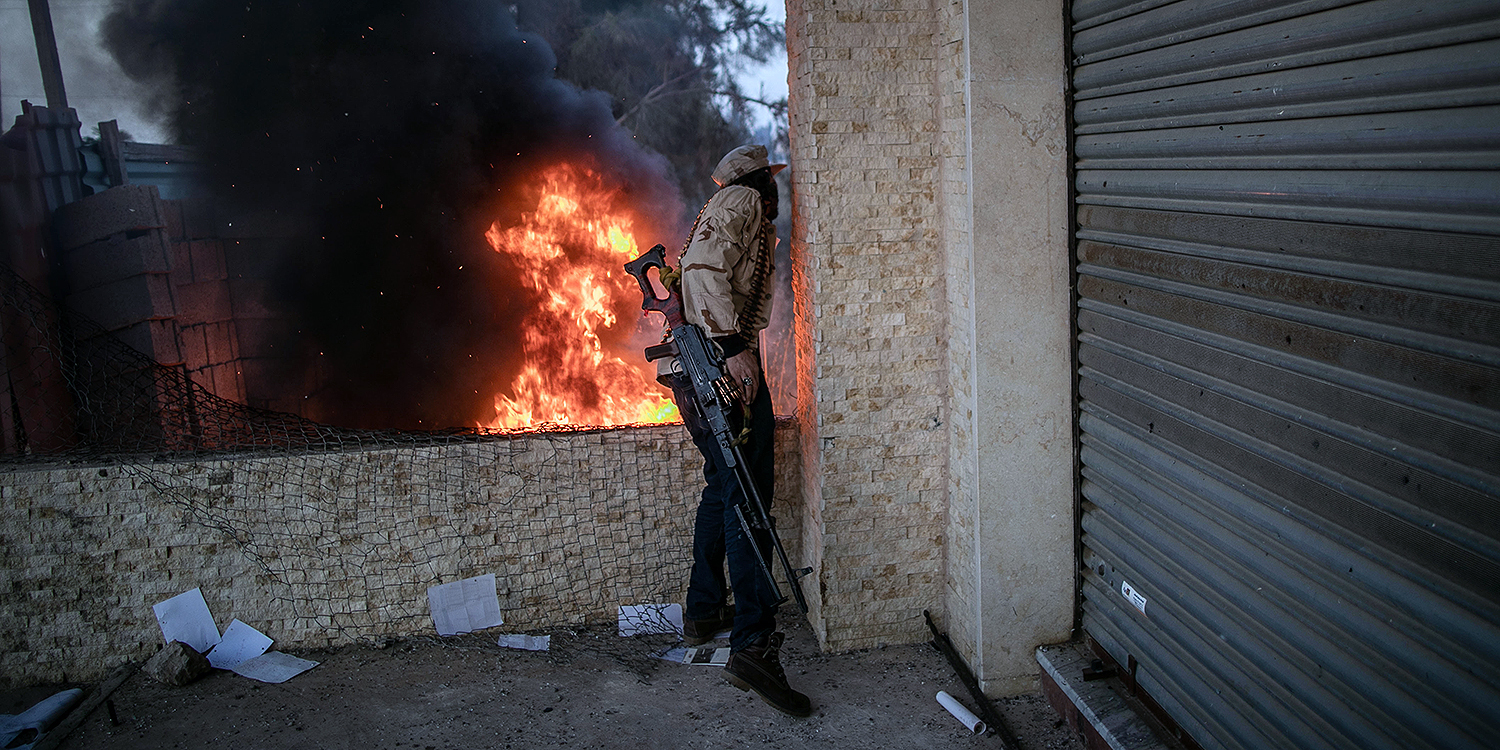 Units of the U.N.-recognized Libya's Government of National Accord take part in Operation Peace Storm against the militias of warlord Khalifa Haftar in the Salahaddin region south of Libya's capital of Tripoli on April 18.