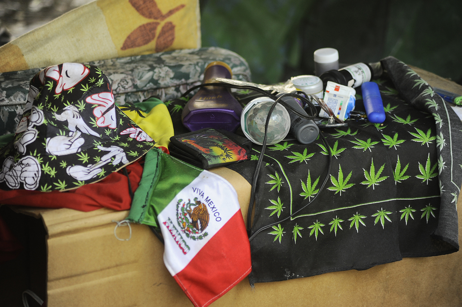 Activists display marijuana paraphernalia and grow crops at a protest encampment outside the country's Senate building in Mexico City on July 18 as they call for the legalization of the drug.