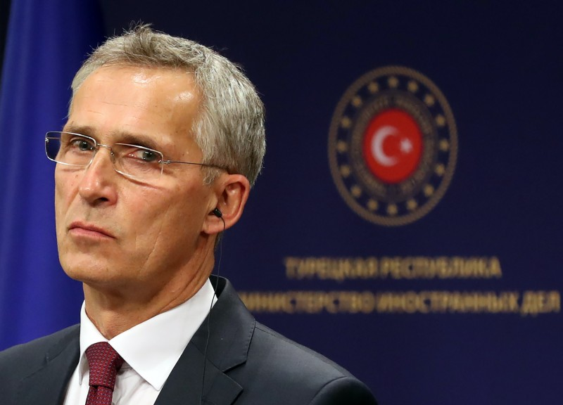 NATO Secretary General Jens Stoltenberg holds a joint press conference with  Turkish Foreign Minister after their meeting at the Foreign Ministry building in Ankara, on October 05, 2020.